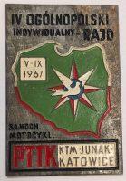 Przypinka IV rajd 1967 KTM Junak Katowice F. Joppek