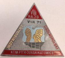 Przypinka VIII rajd 1971 KTM Junak Katowice F. Joppek