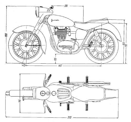 Rys O-1 Główne wymiary motocykla